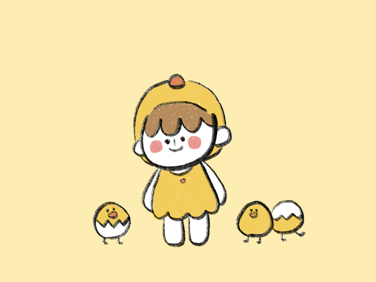 Baby chick 20181216 character 2d drawing yellow cate flat design illustration baby chick