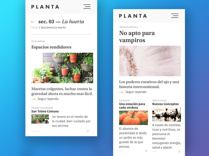 Planta mobile magazine by Hernan Kruk on Dribbble