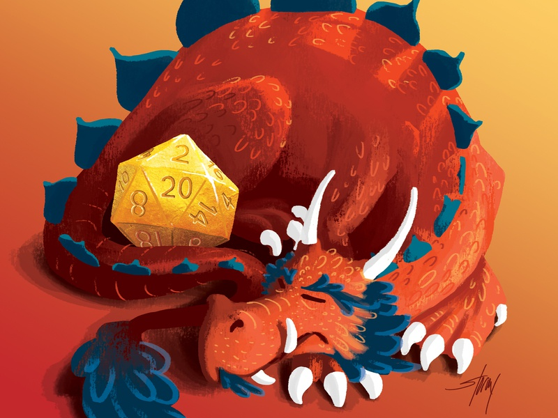 Precious Golden D20 sleeping guarded guard hoarding 20 sided die d20 dnd dd dungeons and dragons fantasy dragon wacom intuos photoshop illustration digital art