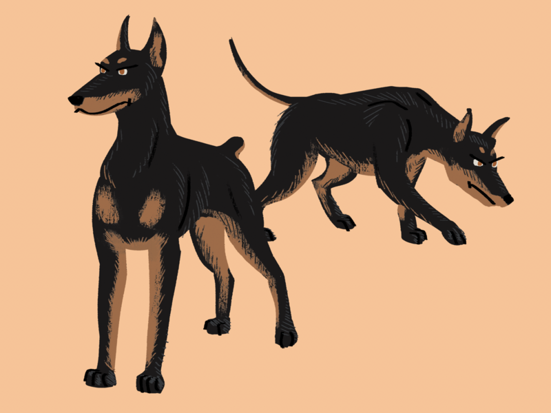 Donna's Dobermans alerts canine breed doberman pinscher guard dog wacom intuos photoshop illustration digital art