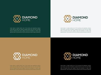 DIAMOND HOME LOGO DESIGN IDEA tranding logoforsale logoinspirations logoawesome luxury logofamous luxurylogo graphic design ux ui forsale realestate homelogo diamond vector branding design logo