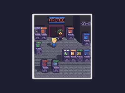 Pixel Art Commission | Father & Son in Earthbound Style Arcade gameart game earthbound pixel art commission arcade pixelart