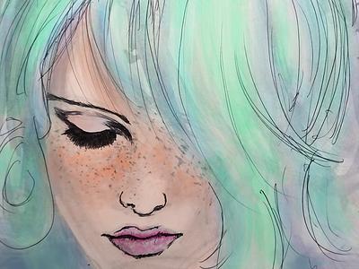 BlueVelvet digital watercolor sketch blue illustration 2d