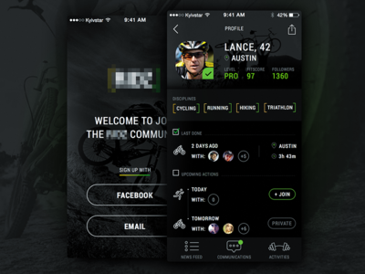 Sport social network profile view simple clean cycling running social network sport