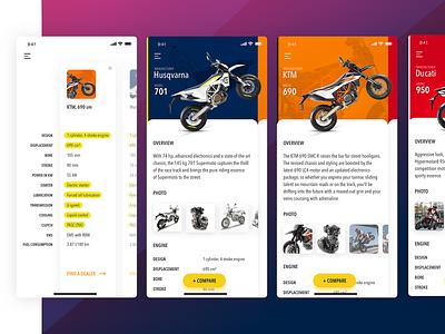 Supermoto compare app engine dealer swipe ux ui sm ducati catalogue husqvarna compare clean app sharp clean light moto supermoto ktm