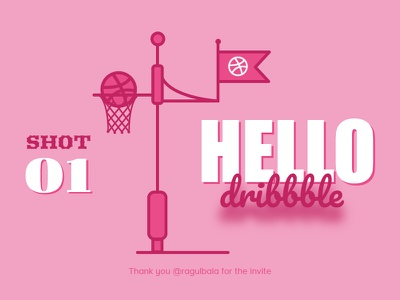 Hello Dribbble! invitation invites illustration hello dribbble first shot shot