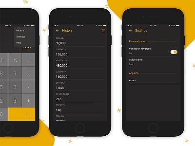 Calculator App UI on off settings mobileui calculator ui ux uiux mobileapp apps appleios iosapp iphoneapp