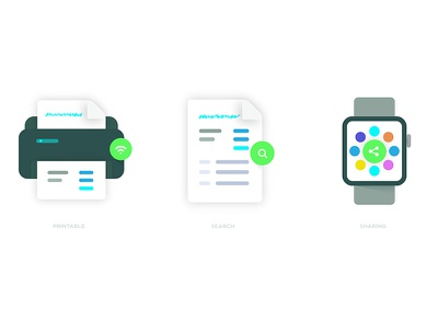 Document Icons - Part 2 receipt icons sharing mail inbox editor printer search applewatch cloud storage icon