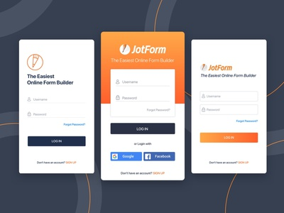 Login Page designs for JotForm Mobile App mobile design graphicdesign ui mobile application mobile app design mobile app sign up login form login login page mobile ui online form jotform design ui design uiux