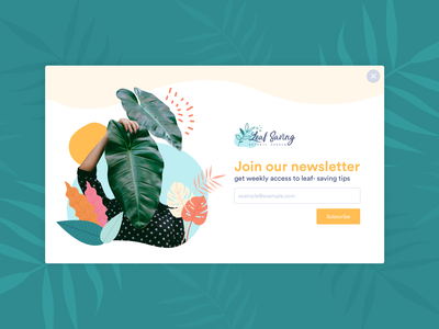 garden newsletter modal design challenge signup login subscription subscribe modal landing ui design graphic design ui design uiux