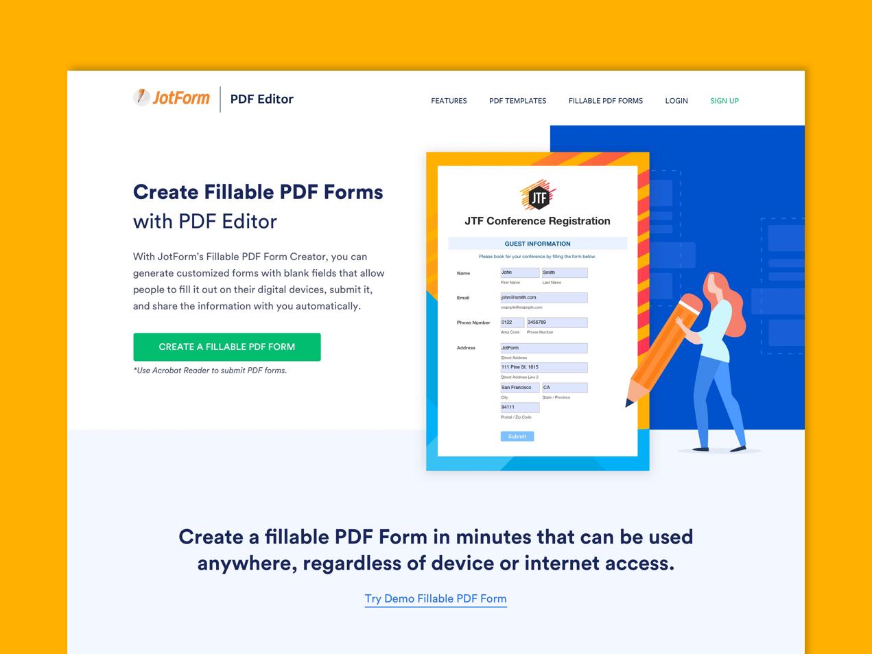 JotForm - Fillable PDF Form Landing by Mercan Alper on Dribbble