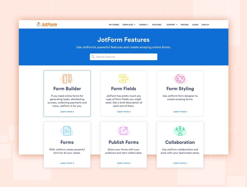 Feature Page Design features feature page website design landing branding online form jotform form ui ui design uiux graphic design