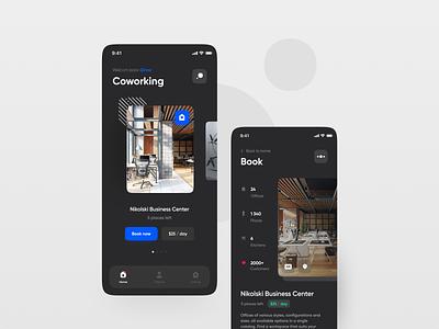 Coworking Mobile App minimalist minimal clean socialisation socialising platform working space coworking work office app design application app mobile zajno