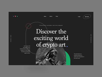 Crypto Art Website nft art nft outline collection aggregator postmodern modern minimal geometric web platform digital vibrant dark visual blockchain art design crypto website zajno