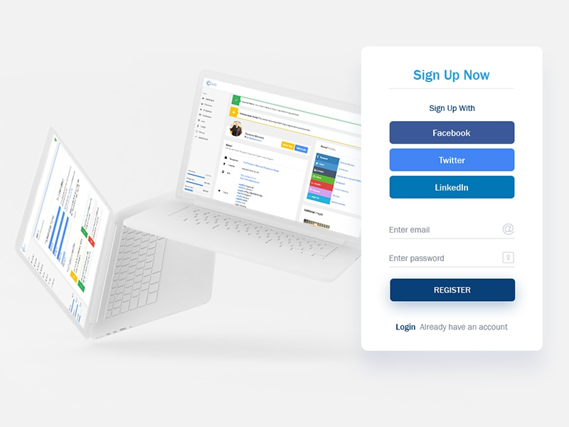 Signup account creation lcd form signup login