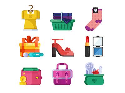 Lady's Icons illustration womans money purse handbag bag cosmetic vibrator clothes lipstick tampon shoes woman girl