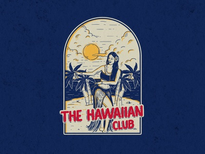 The Hawaiian Club design tiki hawaiian shirt nature vacation exotic hawaii tropical aloha dancer hawaiian badge design summer beach idea illustration drawing concept artwork apparel design
