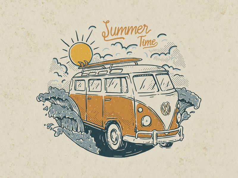 Summer time sun fun holiday tropical beach wave surf travel vintage vacation vw bus kombi volkswagen summertime summer illustration concept design artwork apparel design