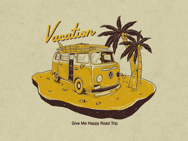 Volkswagen vacation adventure surf fun travel broken vw bus vintage kombi vw volkswagen tropical beach vacation summer drawing illustration design concept artwork apparel design