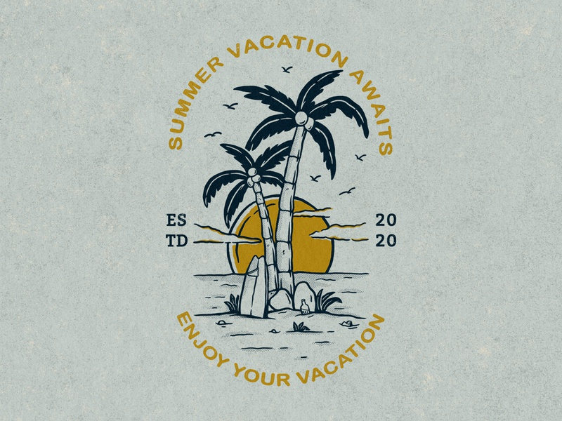 Summer Vacation Awaits summertime holiday summer party sea clothing clothes sunset surfing summer vacation summer vibes beach aloha tropical surf vacation summer illustration concept artwork apparel design