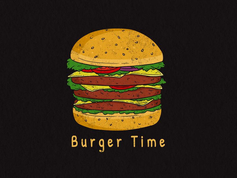 Burger Time artwork bread tasty drawing branding design retro vintage fast food junk food food concept illustration burger