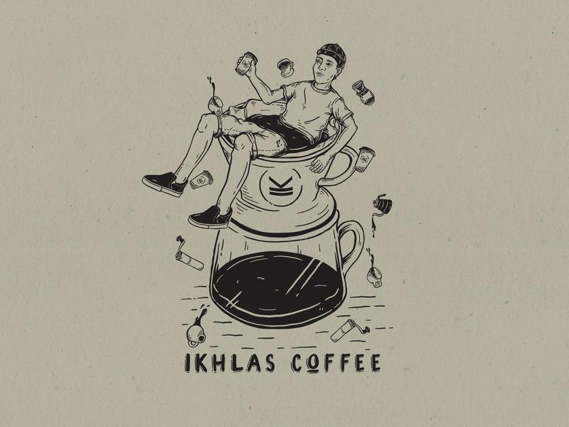 Ikhlas Coffee coffee hand drawn apparel design illustration