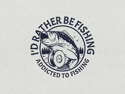 Addicted to fishing badge lake hand drawn fishing bass fish concept apparel design illustration