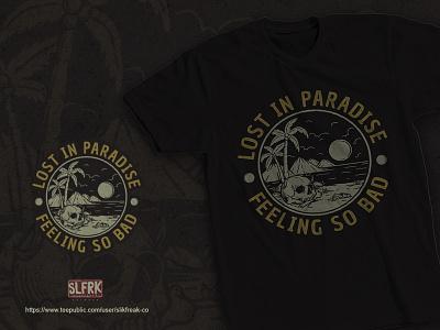 Lost In Paradise T-Shirt t-shirt illustraion clothing summer vibes ocean dead skull bones beach summer apparel design illustration