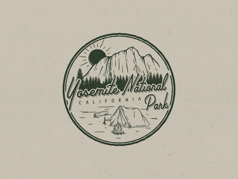 yosemite national park campfire camp yosemite waterfall nature montain california national park logo badge branding concept design illustration