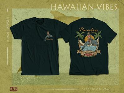 Hawaiian Themed T-shirt Design vintage t-shirt surf summer vibes summer paradise illustration hawaiian hawaii drawing design concept clothing beach branding apparel design aloha