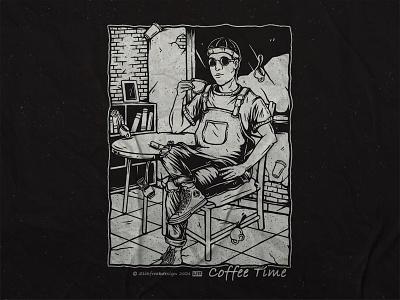 Coffee Time vintage streetwear apparel merch design shirtdesign tshirt ink bw bar cafe barista graphic design coffee branding clothing drawing design concept apparel design illustration