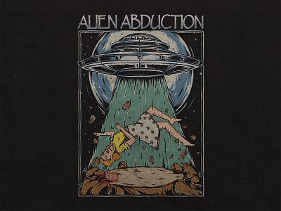Alien Abduction - UFO vintage abduction merch design space graphic design shirtdesign spaceship aliens ufo artwork branding clothing drawing design concept apparel design illustration