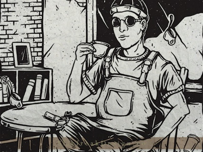 Barista Coffee coffee shop vintage distressed grain texture cup character cafe barista coffee hand drawn ink bw graphic design branding drawing artwork design concept illustration