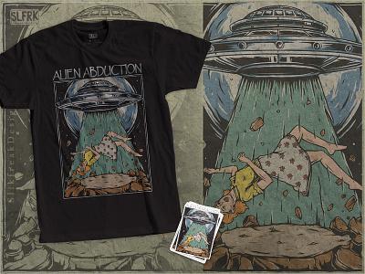 Alien Abduction T-Shirt thriller horror texture vintage concept outer space merch design clothing tshirt shirtdesign invasion abduction spaceship ufo alien graphic design branding design apparel design illustration