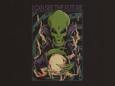 I Can See the Future aliens artwork clothes horror shirtdesign tshirt clothing merch design vintage magician magic wizard alien branding graphic design drawing design concept apparel design illustration