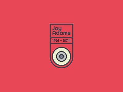 Jay Adams Badge Design icon vector clean wheel navy red skateboard badge