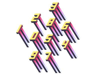 Jelly numbers isometric gradient geometric numbers typography graphic