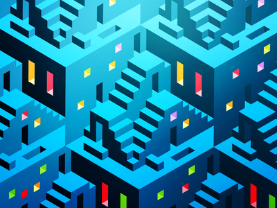 Stairs and windows blue pattern architectural isometric