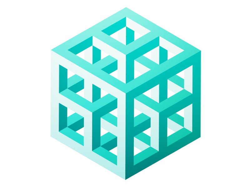Subdivided cube illusion 3d isometric grid geometric