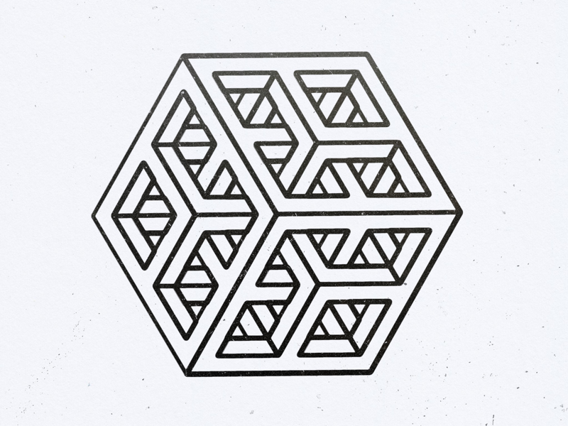 Subdivided cube line drawing isometric 3d illusion line drawing geometric