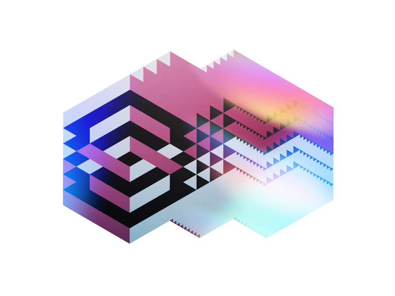 Extruded geometric shape extrusion gradient pattern graphic abstract geometric