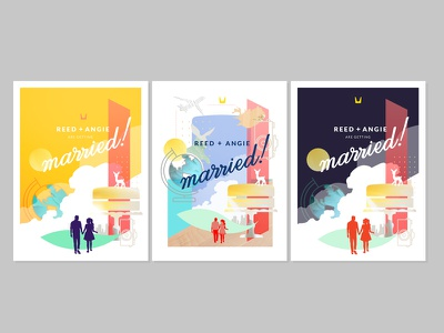 Wedding! wedding invitations illustration icons happily ever after