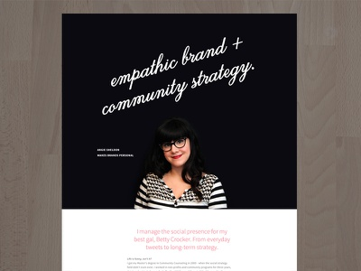 Angie Sheldon - Community Strategy homepage profile portfolio new site photography website