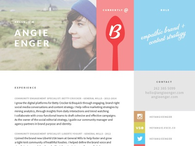 Angie Sheldon, Social Strategist resume freelance available for hire