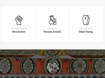 Artist Icons minimal texture layout web history art death women revolution icons