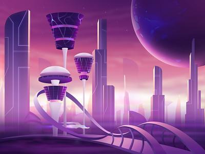 """L"" Letter 2dart buildings white purple ui futuristic city webdesign 360daysoftype-l 360daysoftype 3d space icon vector illustration logo typography studio the glyph minimalism"