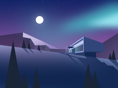 Northern lights gradient house mountain nature flat web product branding website illustration web-design graphic illustrations app studio product designer the glyph web design minimalism travel