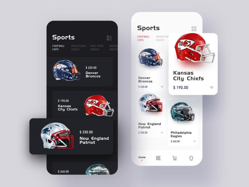 Sports Goods Store App minimal branding prototype iphone x application ux ui illustration design carton card app