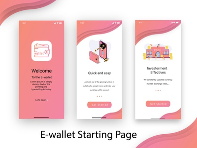 UI design 01 | E-wallet Starting Page app icon ux ui minimal design mobile application mobile app design mobile app mobile ui user interface design user experience userinterface uxdesign uidesign