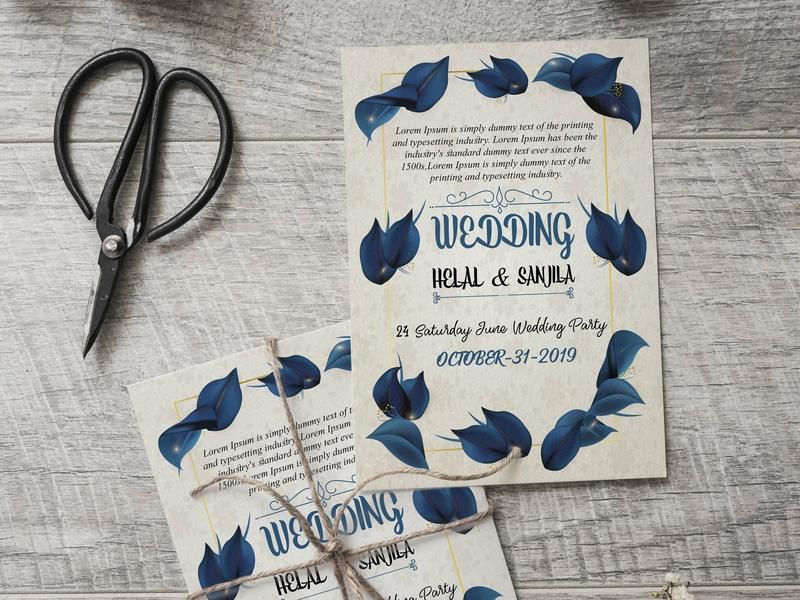 Wedding Invitation Card flower icon minimal creative flat graphic design invitation cards invitation card wedding card wedding